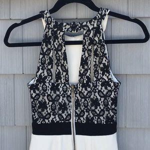XOXO black lace and white mini dress